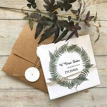 Kartka ślubna z motywem roślinnym