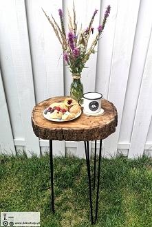 Stolik z plastra drewna diy. Szczegóły na blogu, po kliknięciu w źródło.