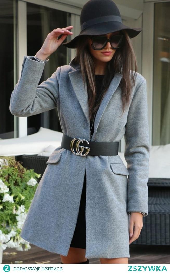 Wełniany płaszcz damski Roco P006 szary