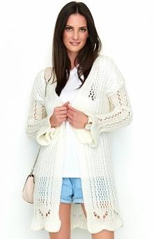 Numinou Ażurowy biały sweter S49