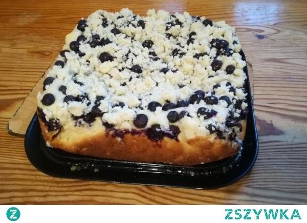 Ciasto drożdżowe z jagodami- bez wyrabiania