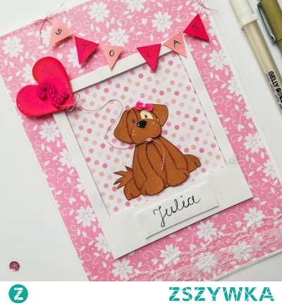 Śliczna, własnoręcznie zrobiona kartka urodzinowa z motywem psa :)
