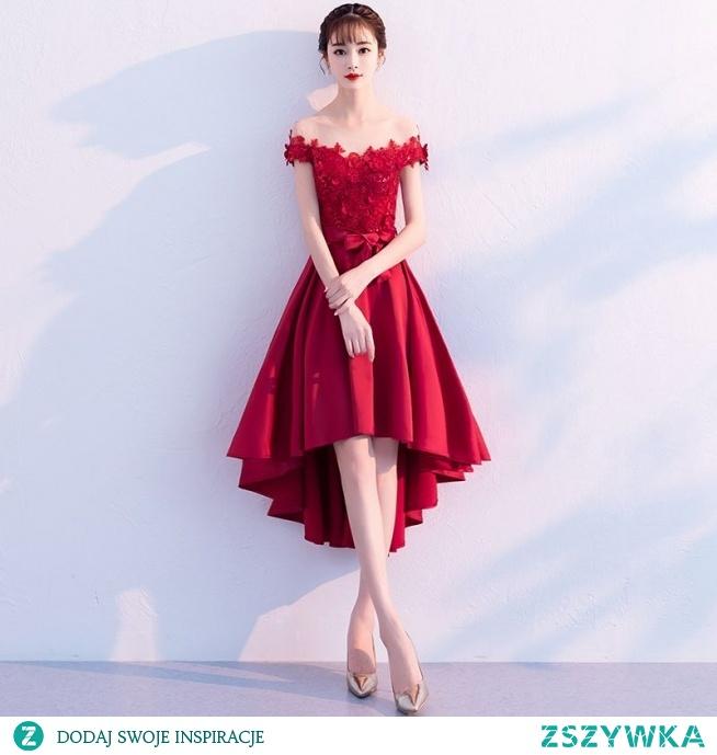 Elegancka Burgund Sukienki Koktajlowe 2019 Princessa Wycięciem Z Koronki Kwiat Aplikacje Perła Cekiny Kokarda Kótkie Rękawy Asymetryczny Sukienki Wizytowe