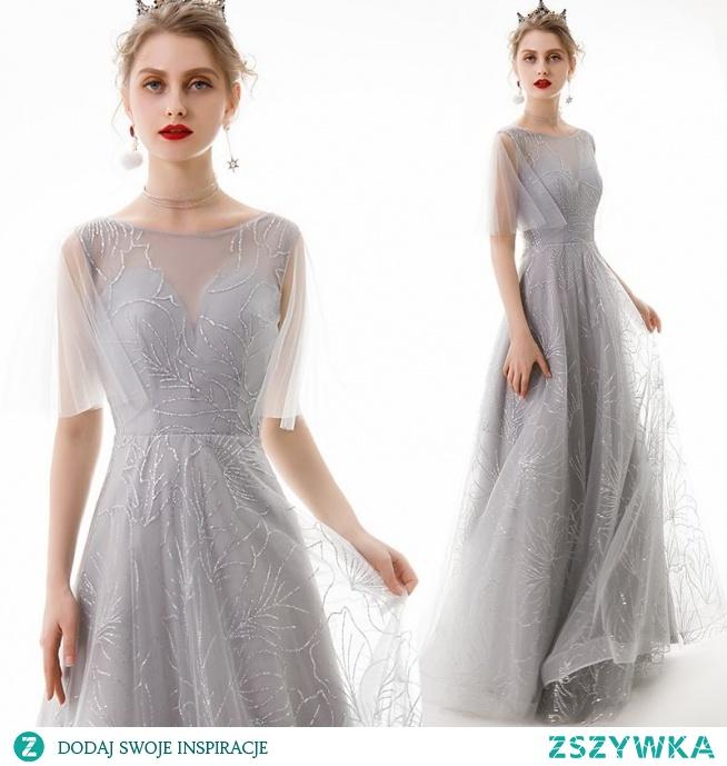 Piękne Szary Sukienki Wieczorowe 2019 Princessa Wycięciem Cekiny 1/2 Rękawy Bez Pleców Długie Sukienki Wizytowe