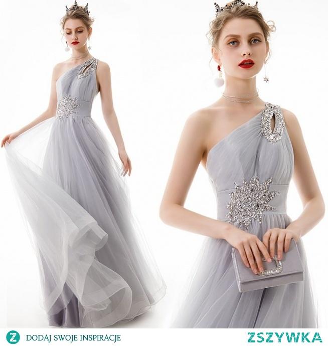 Piękne Szary Sukienki Wieczorowe 2020 Princessa Jedno Ramię Frezowanie Cekiny Bez Rękawów Bez Pleców Długie Sukienki Wizytowe