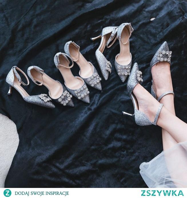 Błyszczące Srebrny Buty Ślubne 2019 Rhinestone Cekiny Z Paskiem 7 cm Szpilki Szpiczaste Ślub Wysokie Obcasy