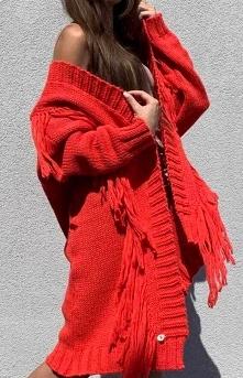 Sue Oversizowy czerwony kardigan z frędzlami Inez