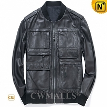 Men Leather Jacket   Custom Leather Bomber Jacket CW818306   CWMALLS.COM