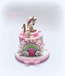 Tort na roczek dla dziewczynki bez masy cukrowej Jednorożec