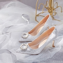 Uroczy Srebrny Buty Ślubne ...