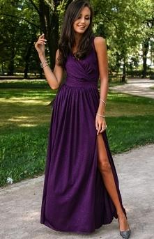 Roco Wieczorowa sukienka z brokatem śliwkowa 224