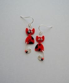 Kolczyki koty czerwone
