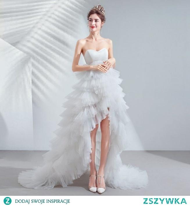 Seksowne Wysoka Niska Kość Słoniowa Asymetryczny Suknie Ślubne 2020 Princessa Bez Ramiączek Bez Rękawów Bez Pleców Kaskadowe Falbany