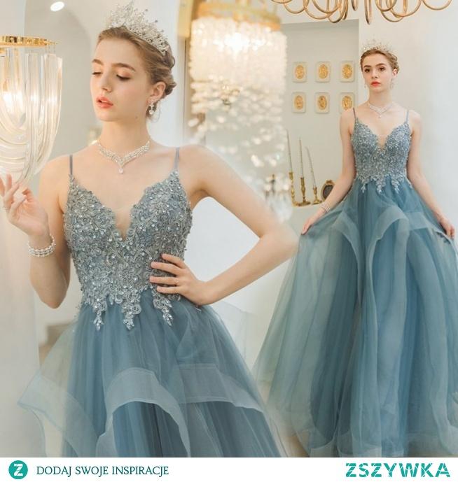Uroczy Niebieskie Sukienki Wieczorowe 2019 Princessa Spaghetti Pasy Frezowanie Cekiny Z Koronki Kwiat Bez Rękawów Bez Pleców Kaskadowe Falbany Długie Sukienki Wizytowe