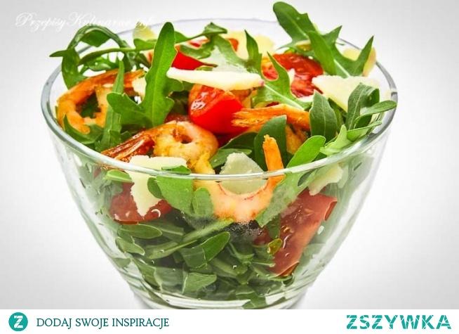 Sałatka z rukoli, pomidorów i krewetek