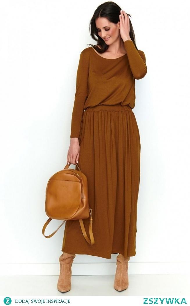 Makadamia Długa sukienka z kieszeniami karmelowa NU199