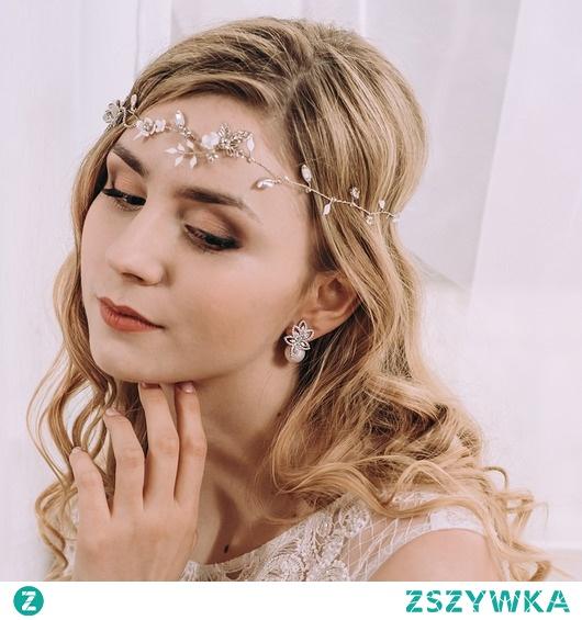 Opaska ślubna - asymetryczna Flora White