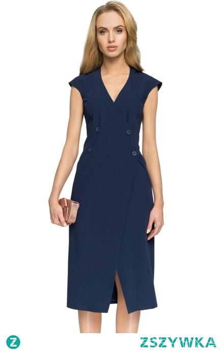 ELEGANCKA KLASYCZNA KOPERTOWA SUKIENKA OZDOBNE GUZIKI sukienki.shop