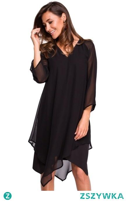 KOKTAJLOWA SZYFONOWA ASYMETRYCZNA SUKIENKA BOHO sukienki.shop