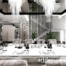 Schody mogą być ozdobą wnętrza domu. Rzeźbiarska forma schodów, oryginalny układ platform przesłonięty ażurową ścianką - widoczne są z jadalni i salonu i stanowią ciekawy elemen...