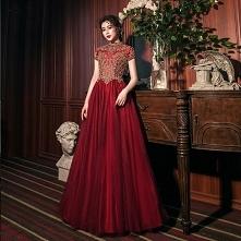 Vintage Burgund Sukienki Na...