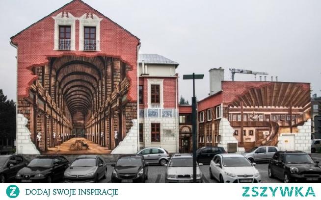 Piękny mural na ścianie biblioteki w Ustroniu, który jest jednym z największych w Polsce i przedstawia wnętrza o dziwo nie biblioteki w Ustroniu, a biblioteki w Dublinie (po lewej), a także Edynburgu (po prawej).