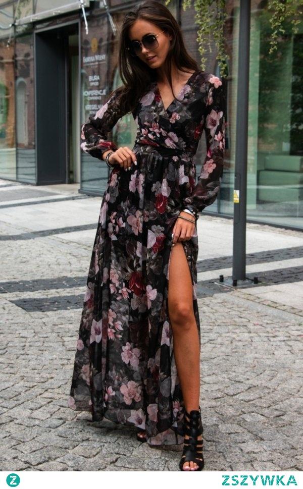 Długa sukienka w kwiaty 0219/D51 dostępna w sklepie Intimiti.pl