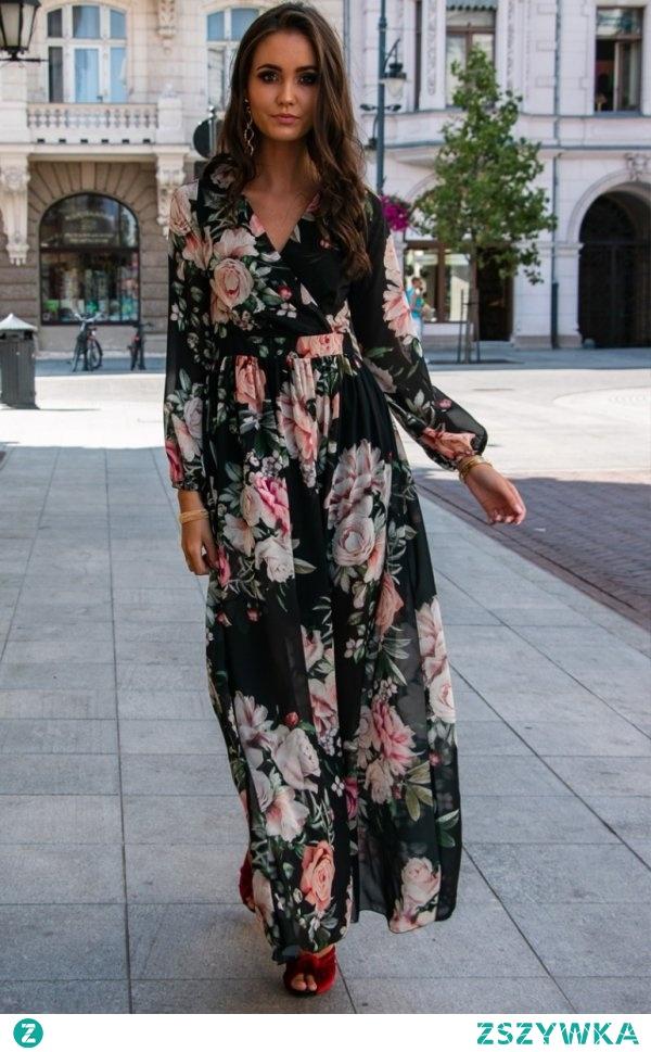 Efektowna sukienka maxi w kwiaty