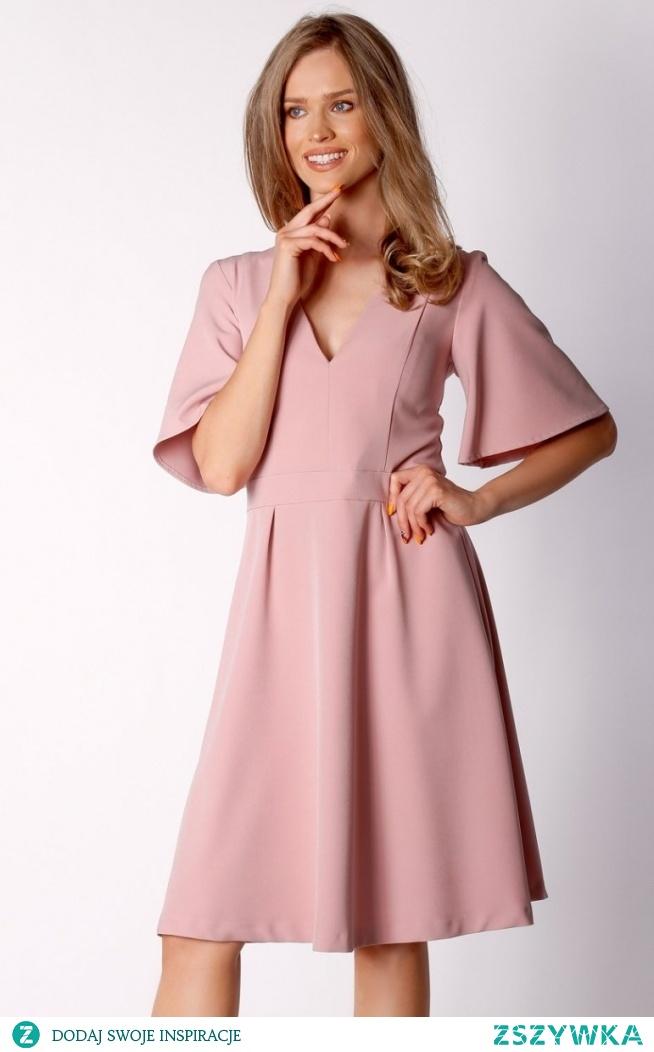 Nommo Rozkloszowana sukienka midi pudrowa NA034LP
