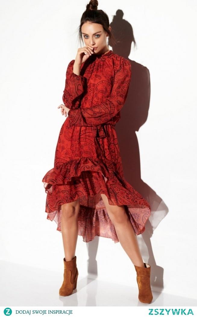 Lemoniade Wzorzysta sukienka z falbaną LG504/1