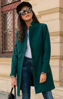 Wełniany płaszcz zielony Ro...