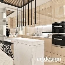 Projekt kuchni otwartej na salon w apartamencie. Jasny fornir, niewielka ale wygodna wyspa, designerskie oświetlenie - czyli w sumie nowoczesna, funkcjonalna i piękna kuchnia :)...