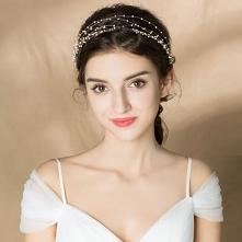 Eleganckie Złote Opaski na głowę Ozdoby Do Włosów Ślubne 2020