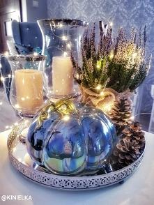 jesienna dekoracja na stół dynia świece wrzos