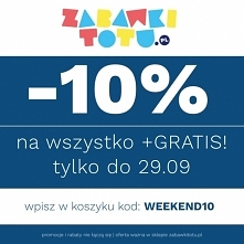 10% rabatu na wszystkie zabawki + GRATIS! Obowiązuje 27 wrz – 29 wrz -10% na kilka tysięcy zabawek dostępnych w zabawkitotu.pl + GRATIS niespodzianka do każdego zamówienia! Tylk...