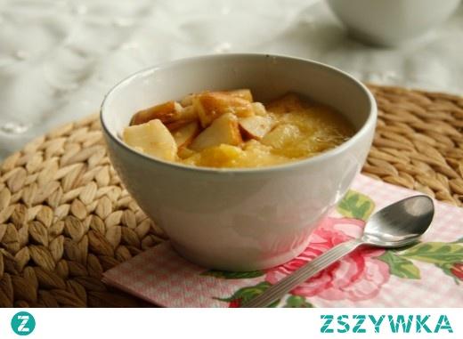 kasza kukurydziana na soku z mango z karmelizowaną gruszką