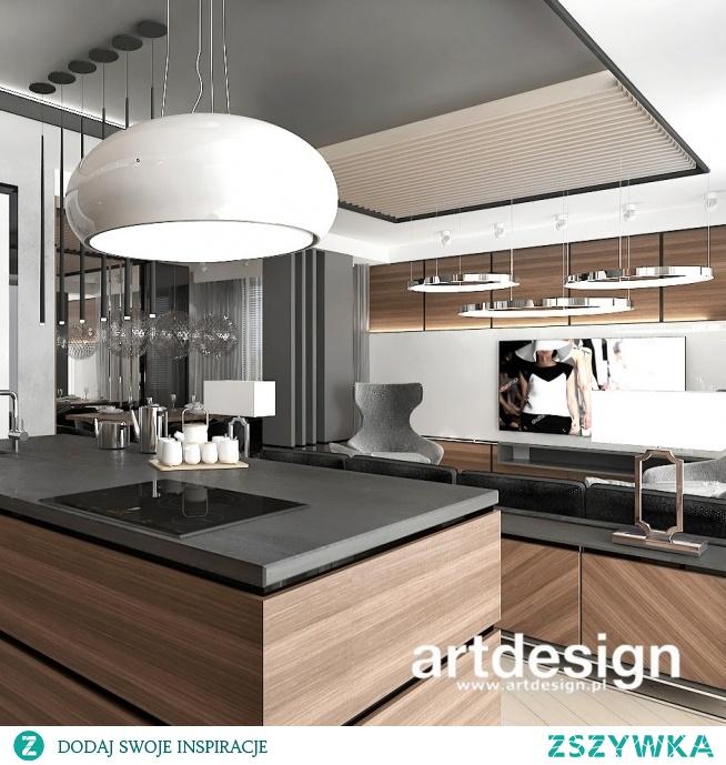 Nowoczesny apartament - salon połączony z kuchnią | NEW PERSPECTIVE | Wnętrza apartamentu