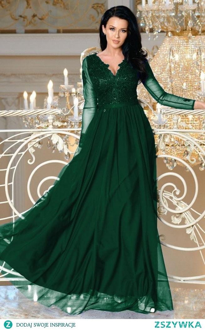 Bicotone Wieczorowa sukienka maxi butelkowa zieleń 2167-13