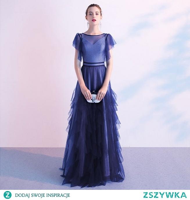 Eleganckie Ciemnoniebieski Sukienki Wieczorowe 2020 Princessa Wycięciem Kótkie Rękawy Długie Sukienki Wizytowe