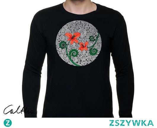 Czerwone kwiaty - męska koszulka z rękawem