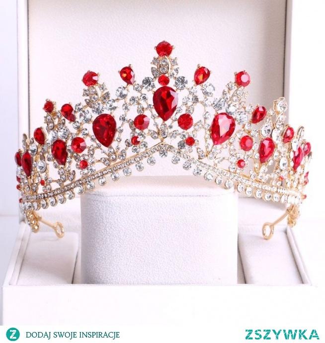 Piękne Czerwone Rhinestone Ozdoby Do Włosów Ślubne 2020