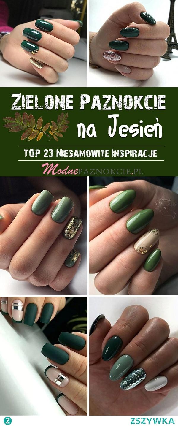 Zielone Paznokcie na Jesień – TOP 23 Niesamowite Inspiracje na Jesienną Porę!