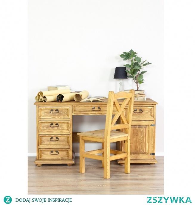 woskowane biurko z litego drewna meble-woskowane.com.pl