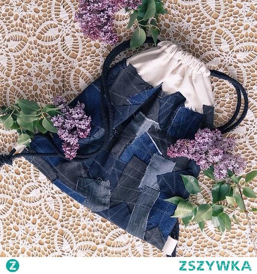 Plecak worek ze skrawków jeansu