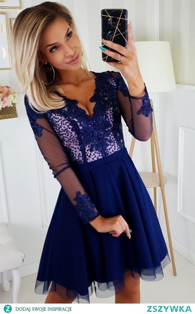 Bicotone Granatowa sukienka wieczorowa z tiulem 2160-11