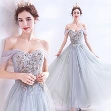 Elegancka Szary Sukienki Na...
