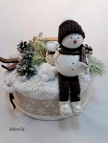Nowość!Oryginalna dekoracja zimowa z bałwankiem. Produkt hand made.