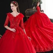 Uroczy Czerwone Suknie Ślub...