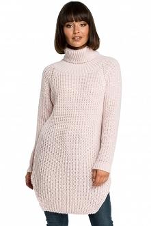 Długi sweter z golfem - róż...