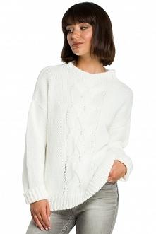 Sweter z warkoczem - ecru (...